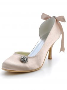 Pures Chaussures De Soirée Doux Haut De Gamme De Chaussures De Mariée En Satin Strass Papillon Talon Decoratif