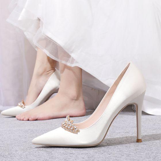 Classy Ivory Satin Rhinestone Wedding Shoes 2020 10 cm Stiletto Heels Pointed Toe Wedding Pumps