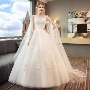 Discount Ivory Wedding Dresses 2018 Ball Gown Scoop Neck Sleeveless Backless Appliques Lace Beading Pearl Sequins Ruffle Watteau Train