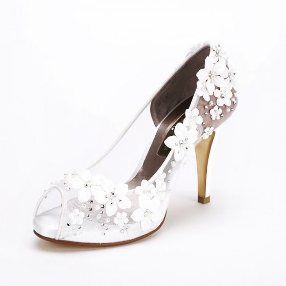 Lovely White Flower Wedding Shoes 2017 Open / Peep Toe Rhinestone Pearl 10 cm Platform Pumps High Heels Womens Shoes