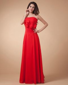 Empire Strapless Floor Length Chiffon Evening Party Dress