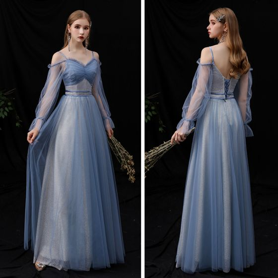 Affordable Ocean Blue Bridesmaid Dresses 2020 A-Line / Princess Spaghetti Straps Puffy Long Sleeve Backless Glitter Tulle Floor-Length / Long Ruffle