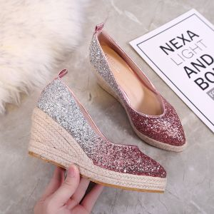 Sparkly Gradient-Color Fuchsia Casual Braid Womens Shoes 2020 Sequins 7 cm Wedges Pointed Toe