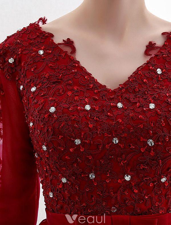 Elegante Feestjurken 2016 V-hals Pailletten Applique Kant Bordeaux Satijnen Korte Jurk