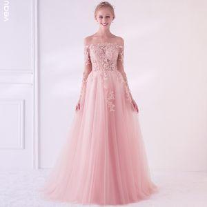 663493d5 Elegant Perle Rosa Gjennomsiktig Ballkjoler 2018 Prinsesse Av Skulderen  Langermede Appliques Blonder Perle Feie Tog Buste