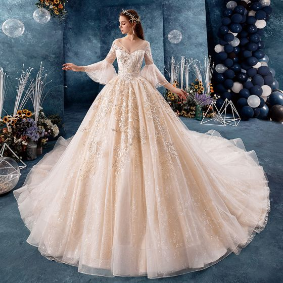 Classy Champagne Wedding Dresses 2019 Ball Gown V-Neck Sequins Lace Flower Bell sleeves Backless Royal Train