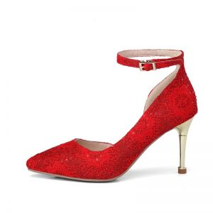 Chic / Beautiful Red Wedding Shoes 2018 Leather Sequins Buckle 8 cm Stiletto Heels Pointed Toe Wedding Pumps