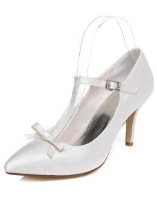 Klassische Weiße Hochzeitschuhe Stöckelschuhe Pumps Satin Brautschuhe Mit Schleife