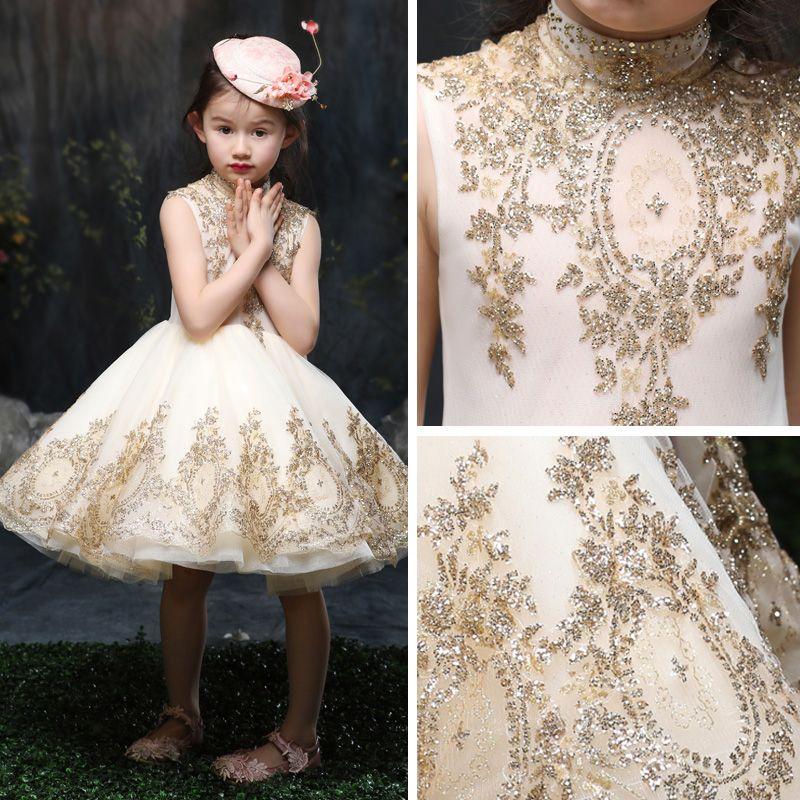 Chic / Beautiful Church Wedding Party Dresses 2017 Flower Girl Dresses Gold A-Line / Princess Knee-Length High Neck Sleeveless Appliques Sequins Rhinestone