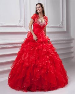 Ball Gown Sweetheart Beading Flowers Floor Length Quinceanera Prom Dresses