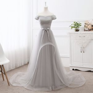 Elegant Grey Prom Dresses 2019 A-Line / Princess Off-The-Shoulder Short Sleeve Backless Bow Court Train Formal Dresses