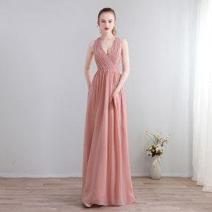 Moderne / Mode Longue Rougissant Rose Robe De Soirée 2018 Princesse Chiffon V-Cou Lacer Appliques Dos Nu Percé Robe De Ceremonie