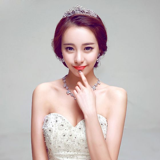 Fashion Rhinestone Bridal Jewellery Wedding Tiara / Earrings / Necklace Three-piece