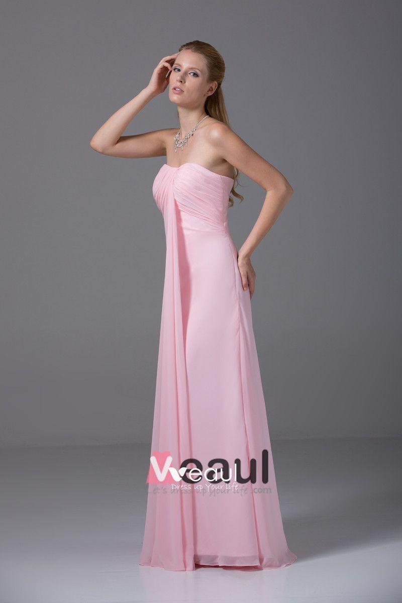 Slim Chiffon Satin Ruffle Sweetheart Floor Length Bridesmaid Dresses