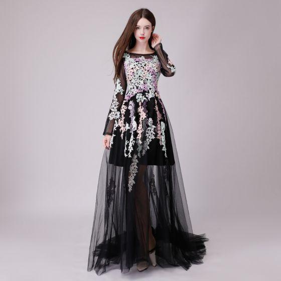 Hermoso Negro Vestidos de noche 2018 A-Line / Princess Transparentes Con Encaje Apliques Scoop Escote Manga Larga Largos Vestidos Formales