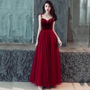 Affordable Burgundy Prom Dresses 2019 A-Line / Princess Sleeveless Spaghetti Straps Beading Sash Floor-Length / Long Ruffle Backless Formal Dresses