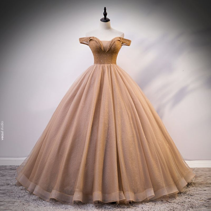 Chic / Beautiful Gold Prom Dresses 2020 Ball Gown Off-The-Shoulder See-through V-Neck Short Sleeve Glitter Tulle Beading Floor-Length / Long Ruffle Backless Formal Dresses