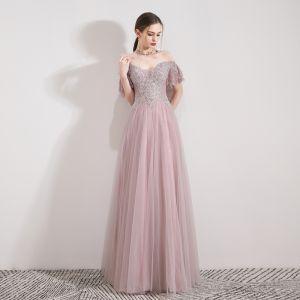 Edles Rosa Abendkleider 2019 A Linie Off Shoulder Kurze Ärmel Perlenstickerei Strass Lange Rüschen Rückenfreies Festliche Kleider