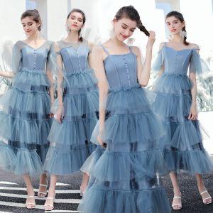 Mode Meeresblau Brautjungfernkleider 2019 A Linie Wadenlang Fallende Rüsche Rückenfreies Kleider Für Hochzeit