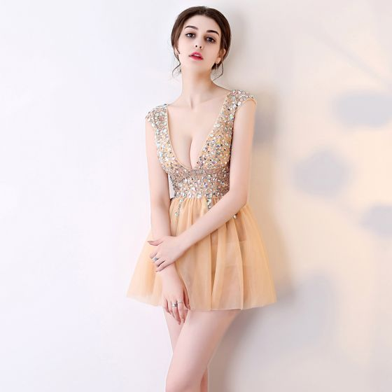 Chic / Beautiful Champagne Graduation Dresses 2017 V-Neck Lace Backless Sequins Homecoming A-Line / Princess Evening Party