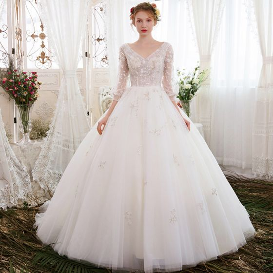 Beautiful Wedding Ball Gowns: Chic / Beautiful Ivory Wedding Dresses 2018 Ball Gown V