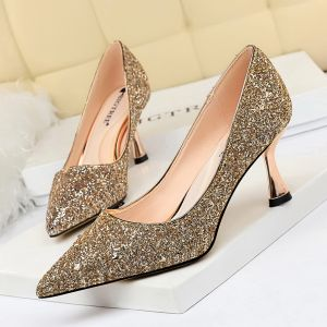 Glitzernden Gold Glanz Abend Pumps 2020 Pailletten 7 cm Stilettos Spitzschuh Pumps