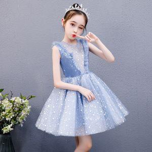 Chic / Beautiful Sky Blue Birthday Flower Girl Dresses 2020 Ball Gown Scoop Neck Sleeveless Appliques Star Short Ruffle