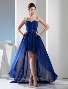 Charmante Empire Chérie Bretelles Ceinture Avec Noeud Robe De Ceremonie Bleu Robe De Cocktail Plissée