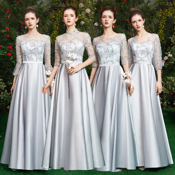 Modest / Simple Grey Bridesmaid Dresses 2021 A-Line / Princess Scoop Neck 1/2 Sleeves Backless Floor-Length / Long Wedding Party Dresses