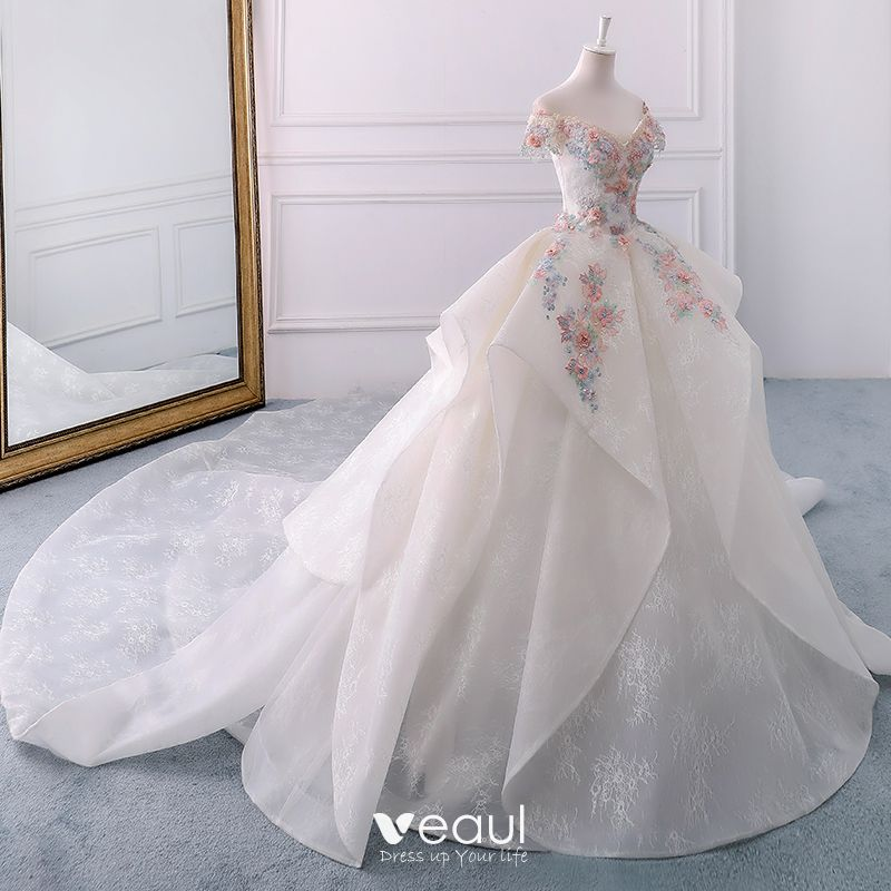 Wedding Dresses 2018 Couture Ball Gowns Elegant Royal: Elegant Ivory Wedding Dresses 2018 Ball Gown Lace