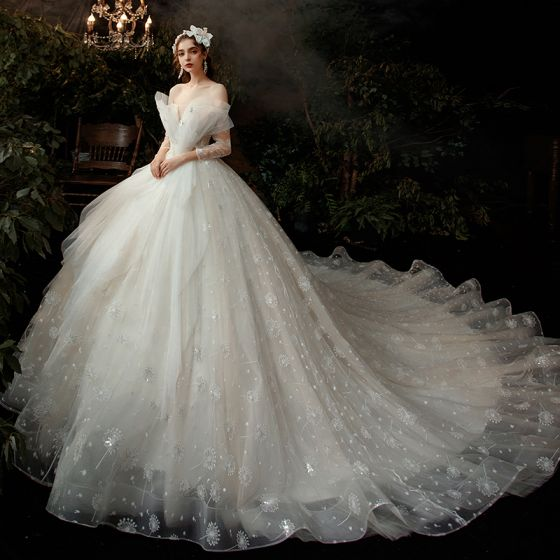 Fabulous Champagne Bridal Wedding Dresses 2020 Ball Gown Off-The-Shoulder 3/4 Sleeve Backless Appliques Lace Sequins Cathedral Train Ruffle