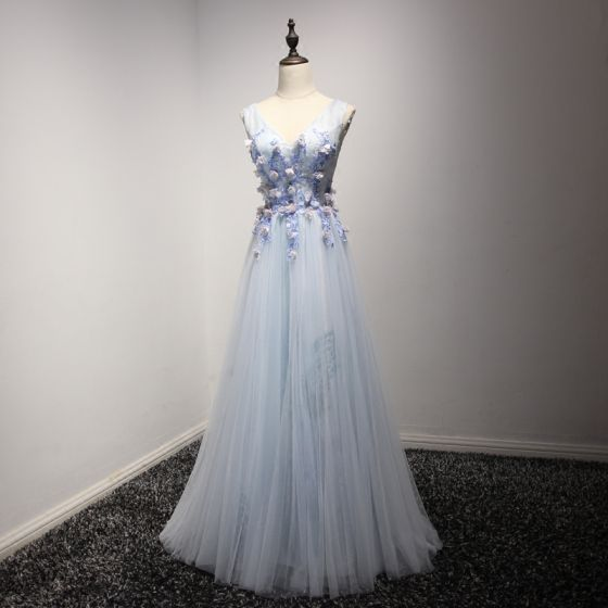 Chic / Beautiful Sky Blue Evening Dresses  2017 A-Line / Princess V-Neck Sleeveless Appliques Lace Flower Beading Crystal Floor-Length / Long Pleated Backless Formal Dresses
