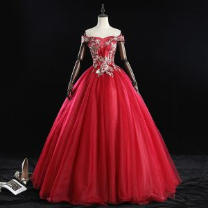 Chic / Beautiful Burgundy Prom Dresses 2019 Ball Gown Off-The-Shoulder Pearl Rhinestone Lace Flower Sleeveless Backless Floor-Length / Long Formal Dresses
