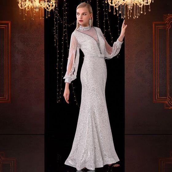 Scintillantes Blanche Transparentes Robe De Soirée 2020 Trompette / Sirène Col Haut Gland Manches Longues Noeud Ceinture Faux Diamant Longue Robe De Ceremonie