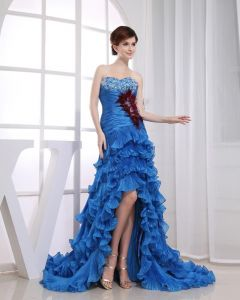 Yarn Beadings Sweetheart Ruffle Feather Sleeveless Backless Zipper Court Train Asymmetrical Tiered Prom Dress