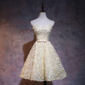 Chic / Beautiful Yellow Graduation Dresses 2017 Sweetheart Sleeveless Bow Sash Backless Knee-Length Formal Dresses
