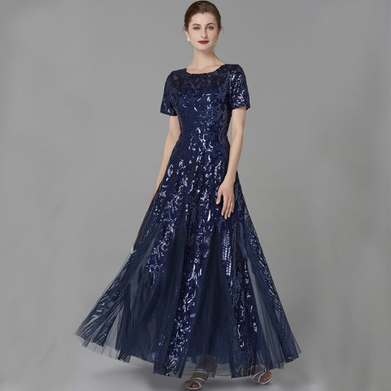 Chic / Beautiful Navy Blue Mother Of The Bride Dresses 2020 A-Line / Princess U-Neck Floor-Length / Long Short Sleeve Backless Beading Sequins Wedding Evening Party Wedding Party Dresses