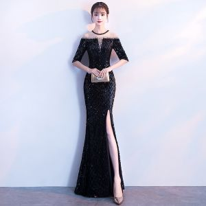 Sexy Black Evening Dresses  2018 Trumpet / Mermaid Sequins Split Front Scoop Neck 1/2 Sleeves Ankle Length Formal Dresses