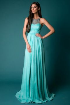 Chic / Beautiful Pool Blue Maxi Dresses 2019 A-Line / Princess Lace Scoop Neck Sleeveless Backless Split Front Floor-Length / Long Womens Clothing