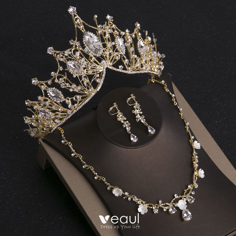 Chic Beautiful Gold Tiara Earrings Necklace Bridal Jewelry 2019