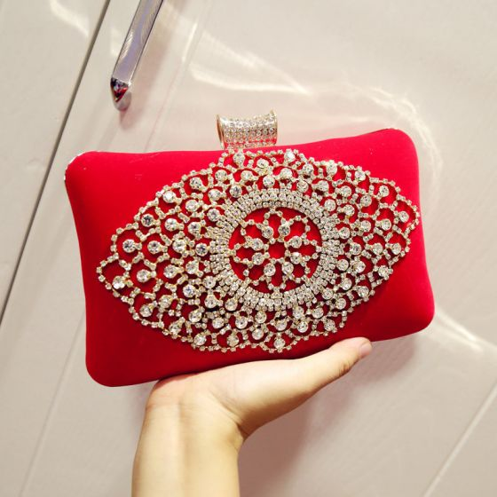 Modern / Fashion Red Beading Rhinestone Velour Clutch Bags Cocktail Party Evening Party Accessories 2019
