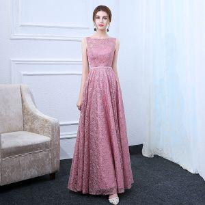 Schöne Pink Abendkleider 2017 A Linie Eckiger Ausschnitt Ärmellos Kristall Stoffgürtel Lange Rüschen Rückenfreies Festliche Kleider