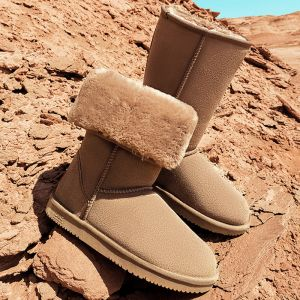 Modest / Simple Khaki Snow Boots 2020 Leather Mid Calf Winter Flat Round Toe Womens Boots