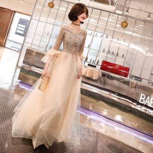 Elegant Champagne Evening Dresses  2019 A-Line / Princess V-Neck Bell sleeves Appliques Lace Beading Glitter Floor-Length / Long Ruffle Formal Dresses