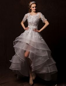 2015 A-line Shoulders Scoop Neck Asymmetrical Appliques Lace Flowers Pleated Wedding Dress
