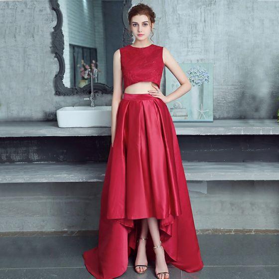 2 Kawałek Burgund Sukienki Koktajlowe 2017 Princessa Charmeuse U-Szyja Z Koronki Haftowane Koktajlowe Sukienki Wizytowe