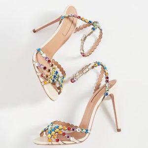 Mode Nues Cocktail Sandales Femme 2020 Cuir Bride Cheville Multi-Couleurs Faux Diamant 10 cm Talons Aiguilles Peep Toes / Bout Ouvert Sandales