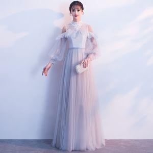 Elegant Grey Evening Dresses  2019 A-Line / Princess High Neck Lace Flower Sash Short Sleeve Floor-Length / Long Formal Dresses