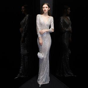 Sparkly Silver Sequins Evening Dresses  2020 Trumpet / Mermaid Deep V-Neck Puffy Long Sleeve Floor-Length / Long Formal Dresses