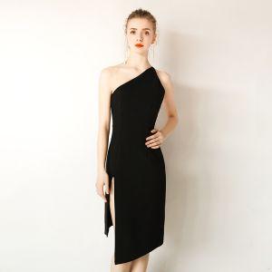 Modern / Fashion Modest / Simple Black Evening Dresses  2019 One-Shoulder Sleeveless Backless Short Formal Dresses